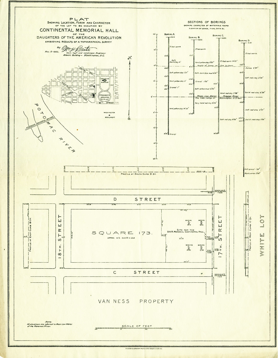 Dar National Headquarters Building History Daughters Of The 1949 Indian Scout Wiring Diagram This 1902 Plat Reports Topographic Survey And Borings Done To Investigate Suitability Square 173 Site Chose For Construction