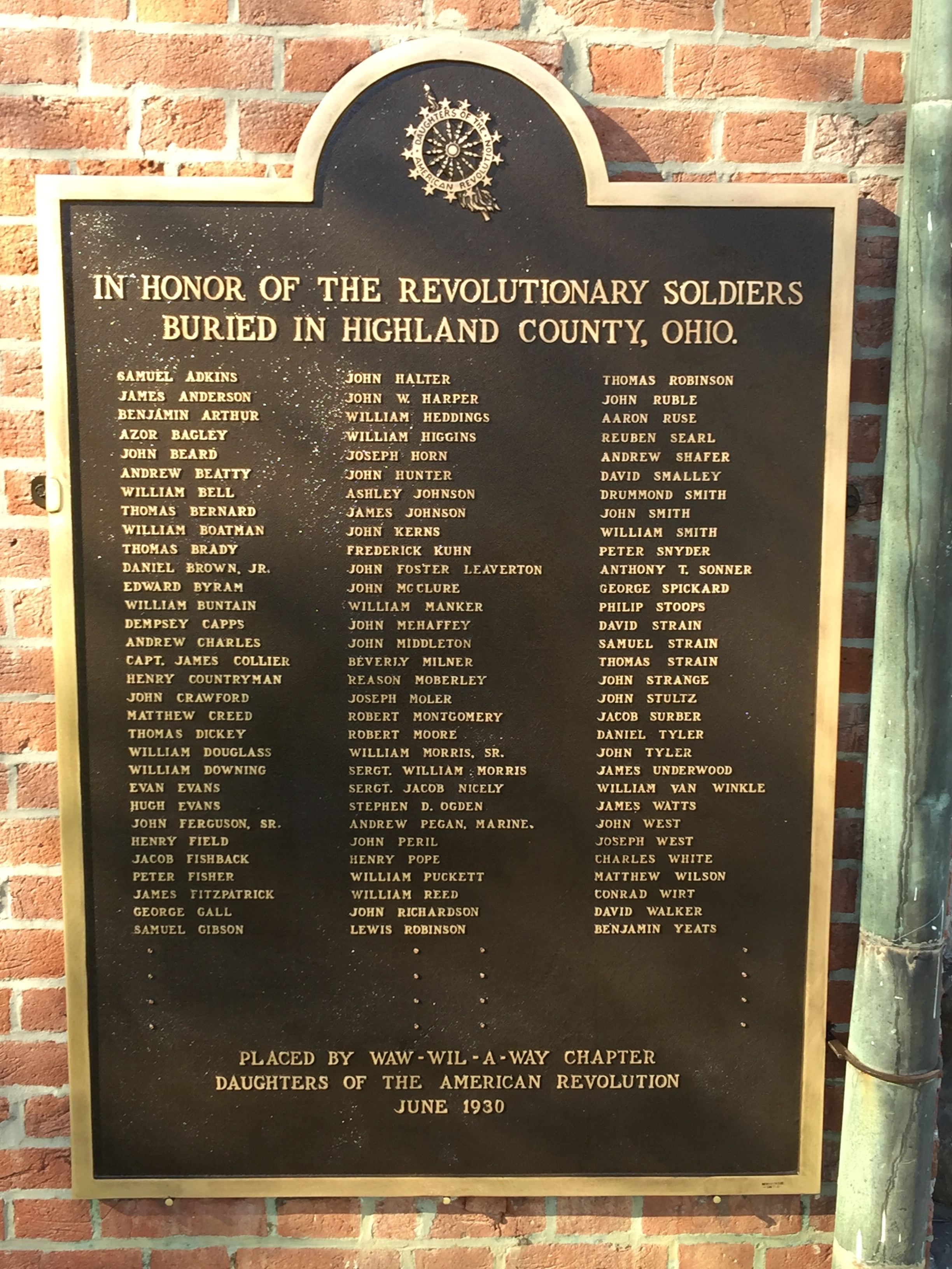 Revolutionary Soldiers Of Highland County Marker