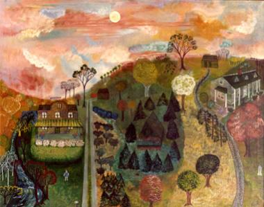 "Sally Cook is a painter and poet and both seem melded into this 1969 painting, ""Waiting for the Woodcock."" This pastoral scene evokes memory and the passing of time, but it is also a tribute to the artist's mother. Two houses are focal points for the child in the lower left who represents the artist. She stands below the house built by her great grandfather, his brother, and her father in 1907. In the upper right Sally Cook painted her grandfather's summer house purchased in 1911 and later owned by her pare"