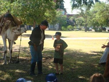 A DAR grant supported students at the Civil War Soldier Camp at the Historic Waco Foundation in Texas.