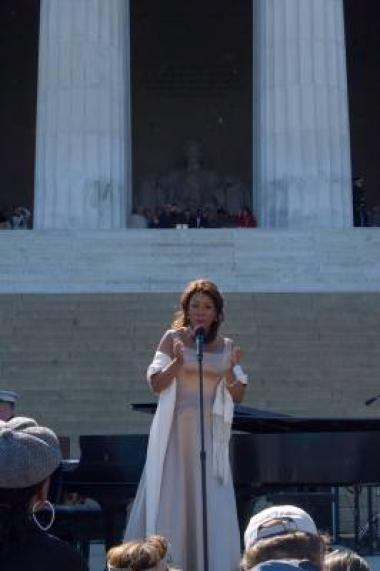 Mezzo-soprano Denyce Graves performed many of the same songs that Marian Anderson sang at her 1939 Lincoln Memorial concert.