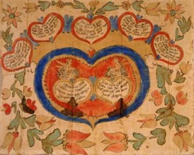 "Fraktur is a type of German calligraphy that was used to present family records of birth, marriage, and death. Hearts provide the dominant theme of this baptismal prayer for Michael Mertz, the son of Sebastian and Magdalena Mertz, born October 1, 1775, probably in Southeastern Pennsylvania. Joseph Lochbaum, who created this fraktur, is often called ""The Nine Hearts Artist"" because of his frequent use of this lovely decorative motif."