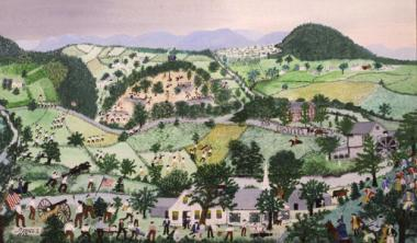 "In 1953, Anna Mary Robertson Moses, known as Grandma Moses, presented this painting to the National Society Daughters of the American Revolution after joining the DAR the previous year. She was ninety-three when she painted the ""Battle of Bennington"" as she imagined the battle scene. In 1954, she wrote to the New York State Conference, DAR, ""Add to that, the fact that Archibald Robertson, my great grandfather, on whose line I joined, was a soldier at the Battle of Bennington..."" Grandma Moses was an extraor"