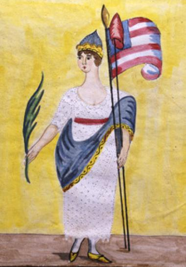 "An unknown schoolgirl probably painted this somewhat defiant allegorical ""America,"" between 1801 and 1840. The painting is based on an English print, ""America,"" published in London in 1801, as is a silk-embroidered version also in the DAR Museum collection."
