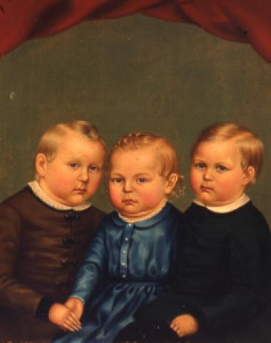 The Parsons brothers, John, Stephen, and Nathaniel, were born in Miami, Missouri. Three days after the birth of Stephen in 1849, their mother died. For a more stable life, the boys were sent to live with their aunt and uncle on a farm in Paris, Maine. Their Aunt Apphia Parsons arranged for this portrait to be painted by the young artist, John S. Hillman (1828-1854).