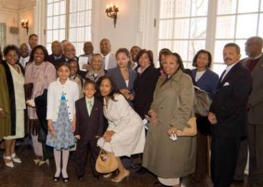 Members of Marian Anderson's family gather in the O'Byrne Gallery at DAR Headquarters.