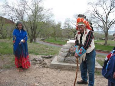 In attendance at the ceremony were Chief Washakie's great-great-grandson, Morningstar Moses Weed, Sr., an honorably discharged WWII veteran and POW, and great-great-great-granddaughter Diana T. Mitchell, who gave prayers and a blessing on the newly cleaned and protected DAR monument.