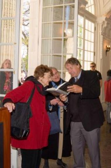 """Raymond Arsenault, author of """"The Sound of Freedom: Marian Anderson, the Lincoln Memorial, and the Concert that Awakened America,"""" attended the reception and shared anecdotes from his book with guests."""