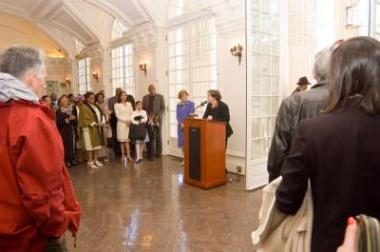 Dr. Eileen Mackevich, Executive Director of the Lincoln Bicentennial Commission, the organization that arranged the Tribute Concert and Naturalization Ceremony, welcomed guests to the reception and spoke about the Commission's other upcoming projects honoring the bicentennial of Lincoln's birth.