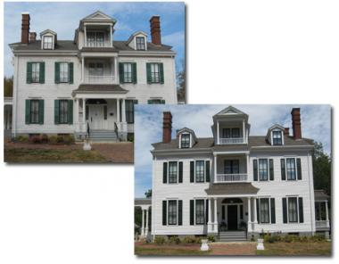 These photos depict the Governor Duncan Mansion before and after the restoration of its facade.