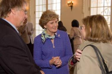President General Linda Calvin visited with Raymond Arsenault, author of