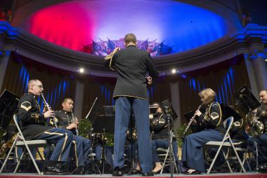 The United States Army Band performs in DAR Constitution Hall prior to the Opening Night Ceremony of the 123rd Continental Congress.