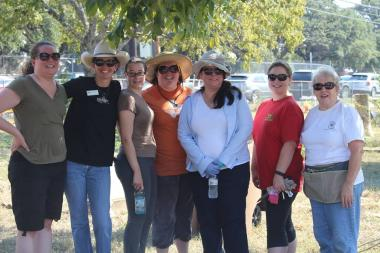 Members of Andrew Carruthers, Austin, Texas, celebrate 125 years of service spending the afternoon at Cementerio Mexicano de Maria de la Luz. Along with Daughters from other Austin area chapters, members worked at the cemetery, cleaning graves and performing other maintenance tasks. ‪#‎DARDayofService