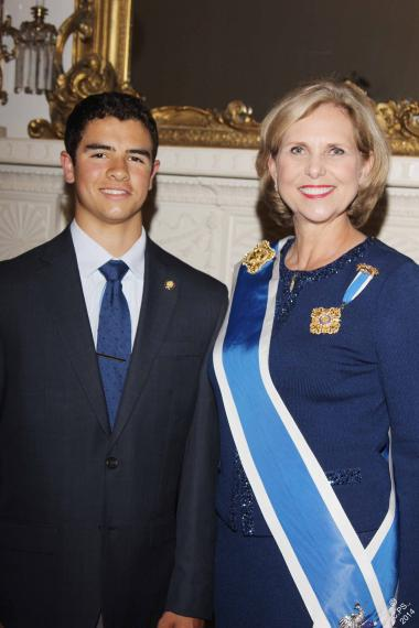 2014 DAR Good Citizen winner Liam Rial of North Kingstown, Rhode Island with President General Lynn Young.