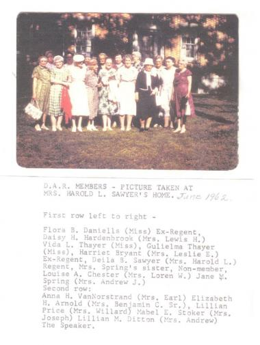 Owasco Chapter of Auburn NY celebrating Flag Day 1962. Flora Daniells (front far left) and her intrepid partner Mabel Crosby (not pictured) compiled a 10 volume listing of Cayuga County cemeteries in the 1960's; their records are of tremendous help to all of us! My grandmother and the reason I joined DAR is Mabel Edick Stoker, peeking out from the second row.