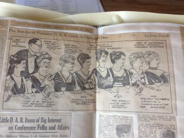 Hope you enjoy this press clipping from the New York State Organization's scrapbook: The Albany Evening News, October 26, 1923 -- sketches of the dignitaries attending the DAR State Conference, including our President General, Mrs. Anthony Wayne Cook (center).