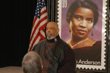 January 27, 2005 – Marian Anderson's nephew, James DePreist, who is the Director of Conducting and Orchestral Studies at The Julliard School, shares stories of his aunt's life. Speaking on behalf of the Anderson family he thanked the U.S. Postal Service and the Daughters of the American Revolution for hosting the event and for their kind words at the ceremony.