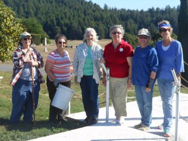 Members of Eel River Valley Chapter celebrated DAR National Day of Service by cleaning up trash at Sunrise Cemetery in Fortuna, CA