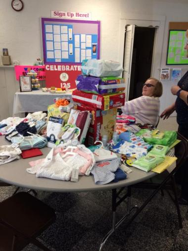 "Springfield, IL Chapter hosted a ""baby shower"" to benefit needy newborns on the DAR Day of Service."