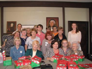 Captain William Edmiston Chapter had members get together at their very own historic building, The Old Post House, to fill Operation Christmas Child gift boxes on NSDAR Day of Service.