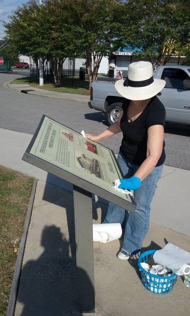 Fort Nelson daughters cleaning our many Path of History signs in Olde Towne, Portsmouth, Virginia.
