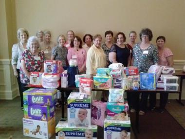 Peter Forney Chapter, Montgomery, Alabama collected diapers and other items for a local ministry center in Montgomery.