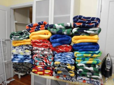Today, Emily Geiger DAR Chapter will turn this pile of colorful fleece into lap throws for the veterans at South Carolina's Victory House in Walterboro, SC. Happy 125th birthday NSDAR!