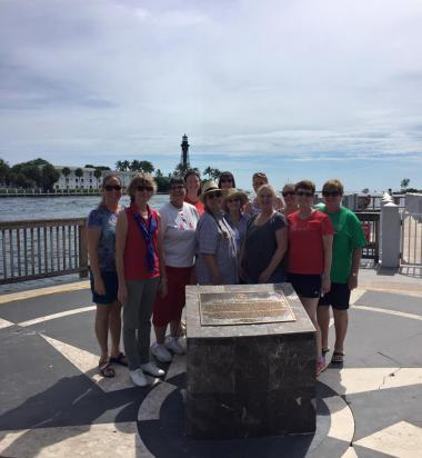 Lighthouse Point Florida Chapter participating in the National Day of Service. It was a beautiful day at the inlet. We scrubbed and waxed Our DAR Marker and all the other Markers and then cleaned up the whole park!  Our Honorary State Regent, Cyndi Symanek joined us as well.   Thank you to the Daughters who attended and brought their children to help too!