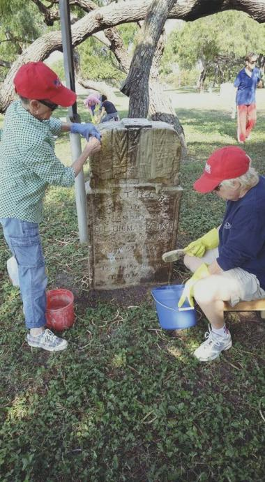 Corpus Christi Chapter NSDAR spent our day of service cleaning tombstones in Old Bayview Cemetery, the oldest Federal Military cemetery this side of the Mississippi. 16 women with buckets, brushes, gloves and elbow grease.