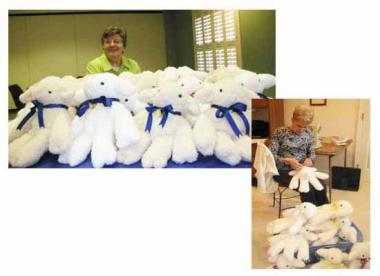 Six to eight members of the Tomahawk Chapter DAR in Kansas meet once a year in a member's home for an entire day to make stuffed lambs to send to Navajo Ministries, a Navajo Mission in New Mexico. The lambs are given to young Navajo children in crises who come to the mission for care and most come with nothing. The stuffed lamb is theirs to keep and love and to offer comfort to the child. The lamb in the Navajo society is symbolic because the group for centuries has depended upon sheep for food and liveliho