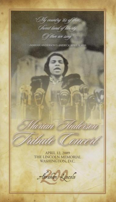 Program from the Marian Anderson Tribute Concert, April 12, 2009.