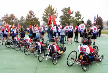 Grant Recipient, Patriotism: Akansa Chapter, Hot Springs Village, Ark. Grant monies were used to purchase adaptive cycling sports equipment for wounded Arkansas veterans so that they could participate in the 2012 Arkansas Challenge Ride. Specialized equipment is often beyond the means of many veterans.