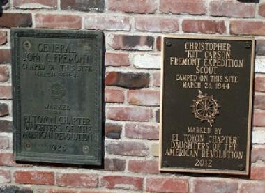 Grant Recipient, Historic Preservation: El Toyon Chapter, Stockton, Calif. The chapter's 1923 plaque commemorating Capt. John Fremont's Western expedition was returned to the Dodge House and grant monies were used to purchase an additional plaque honoring the party's scout, Kit Carson. The expedition camped at this location March 26, 1844.