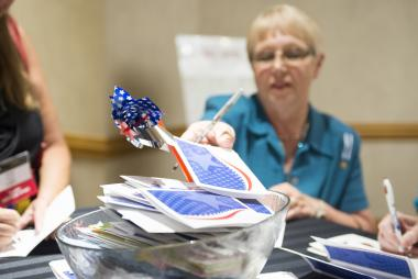 More than 2,000 cards showing appreciation to military families were collected during Celebrate America Night and will be distributed to military families through Blue Star Families Operation Appreciation program.