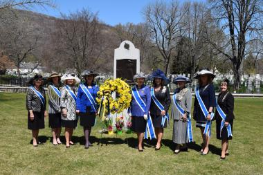 DAR Executive Officers honor Margaret Corbin at her monument in the West Point Cemetery.