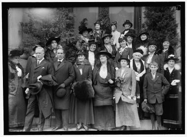 Photo taken at DAR in 1916; to the right of the photo, near the front, the lady with the white fur trimmed coat and the white plume in her hat, is Mary S. Lockwood, one of our Four Founders. It was at her home, on October 11, 1890, that the organizational meeting of NSDAR was held. Photo from the Library of Congress.
