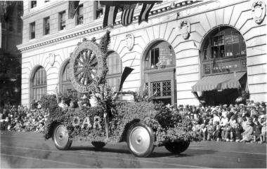 1930 Rose Parade entry in Pasadena, California for the DAR, won second place trophy for Best Decorated Automobile from the Pasadena Tournament of Roses Association.