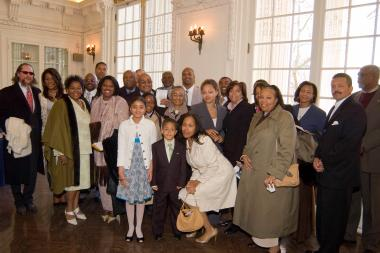 April 12, 2009 - Members of Marian Anderson's family gather in the O'Byrne Gallery at DAR Headquarters.
