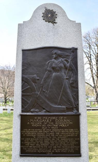 The Margaret Corbin Monument in the West Point Cemetery. Donated by the New York State Society Daughters of the American Revolution in 1926 to the United States Military Academy. It is the only monument honoring a woman veteran located at the United States Military Academy.
