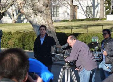 Rob Lowe on the North Portico of DAR Memorial Continental Hall.