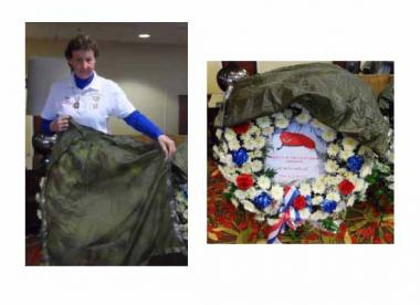 "Karen Jordan Sinkovitz, a member of the Catherine Schuyler Chapter of New York, volunteered to make wreath covers for the wreaths laid on Veteran's Day at specific Airborne memorial markers at Arlington National Cemetery and major war memorials in Washington, DC, after observing that the previous year's covers were in disrepair. A retired Army Airborne Sergeant sent her an old green parachute, with the directions to make squares of cloth measuring 32"". The final product was a set of thirteen covers with adj"