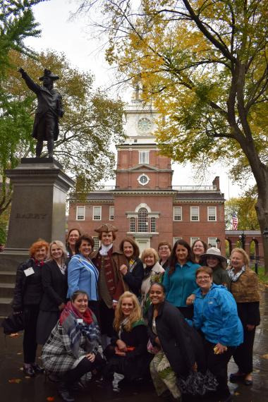 DAR members who attended the ceremonial tree planting gather with Thomas Jefferson at Independence Hall.