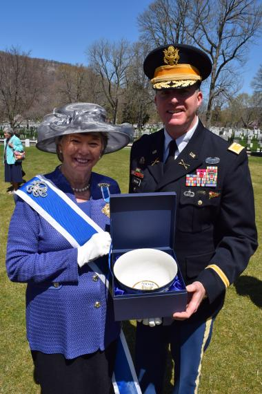DAR President General Ann Turner Dillon presented a gift to Deputy Commandant Colonel Joe Davidson, who represented the United States Military Academy. The Superintendent was unable to attend but sent a  Colonel Davidson on his behalf.