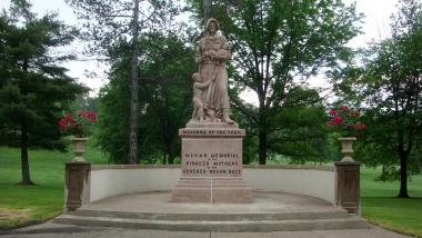 Grant Recipient, Historic Preservation Category: Wheeling Chapter, Wheeling, W.V. Restoration to the 1928 Madonna of the Trail monument included cleaning, removal of algae growth, and repairs. A coating was added to protect it from the elements. Granite urns were added and the grounds were restored and beautified.