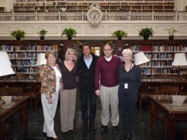 """The DAR team with actor Rob Lowe following filming at DAR Headquarters for a """"Who Do You Think You Are?"""" episode."""