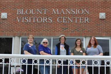 The Cavett Station Chapter, TN, volunteered at the Blount Mansion where they cleaned windows and polished historic pieces in the mansion, mulched flower beds and planted pansies.