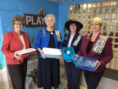 """The Jackson-Madison Chapter, TN, delivered """"Jared Boxes"""" to the pediatric unit of their local hospital. The boxes contain small gifts, toys, games and fun activities to lift the spirits of young hospital patients."""