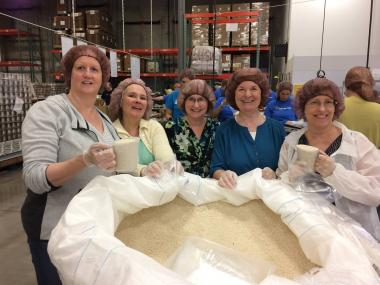 The Monument Chapter, MN, volunteered at Second Harvest Heartland. They packed bulk rice into 1 pound bags to be delivered to food shelves across the Twin Cities area. They packed 1808 pounds or rice!