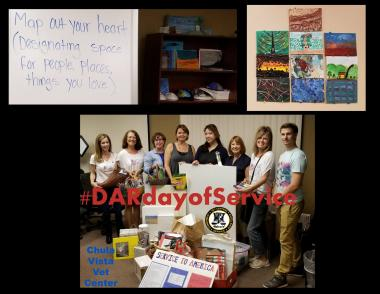 The De Anza Chapter, CA, donated art supplies to the art therapy program for combat veterans at the Chula Vista VA Center.