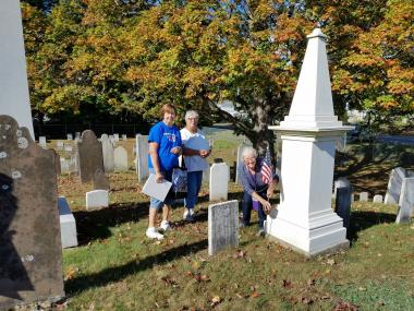 The Katherine Gaylord Chapter, CT, worked in the Lewis St and Downs St cemeteries to be sure all the graves of the Revolutionary War Patriots had a flag holder and flag in good condition. They also updated records and noted stones that needed attention.
